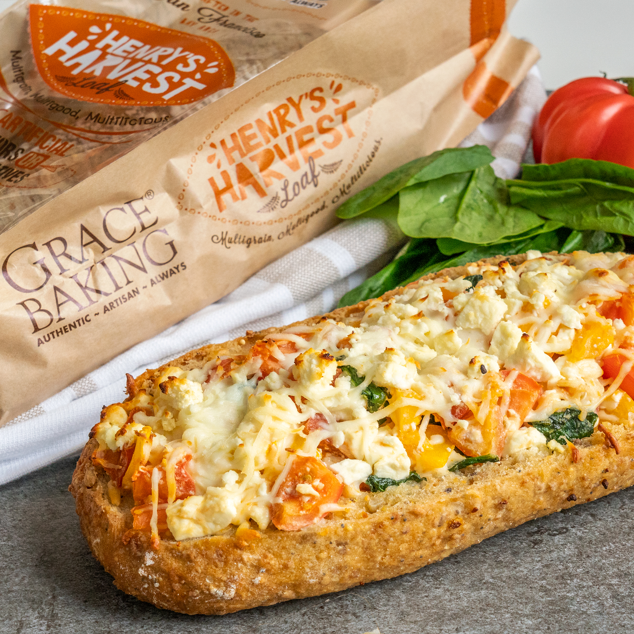Tomato, Feta and Spinach Bread boat